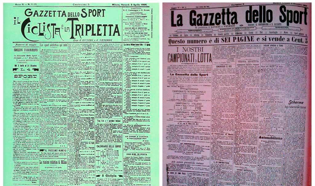 Páginas de La Gazzetta dello Sport